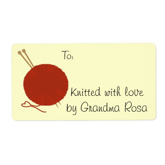 Knitting Gift Avery Label Tag