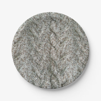 Knitting grey pattern paper plate
