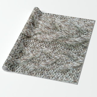 Knitting grey pattern wrapping paper