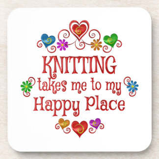 Knitting Happy Place Beverage Coaster