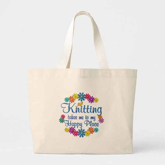 Knitting Happy Place Large Tote Bag