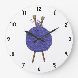 Knitting Humor Large Clock