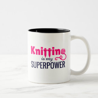 Knitting is My Superpower in Pink Two-Tone Coffee Mug