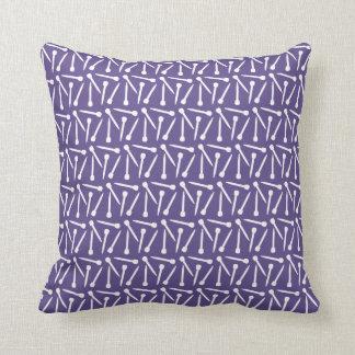 Knitting Needles Crafts Purple / Gray Dark Throw Pillow