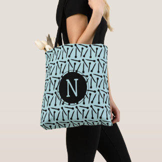 Knitting Needles Initial Crafts Tote Bag