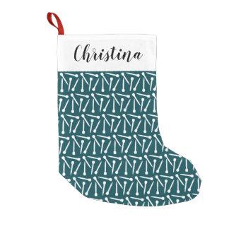Knitting Needles + Name Crafts {Dark} Small Christmas Stocking