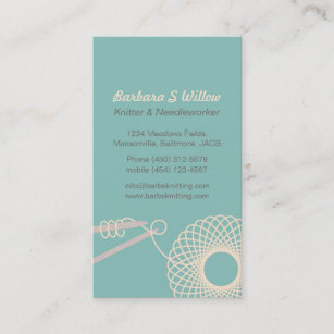 Knitting business cards business card printing zazzle ca knitting needlework teal cream business cards colourmoves