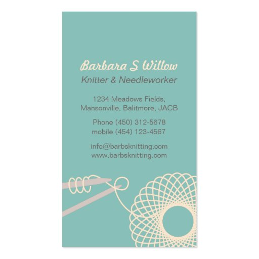 Knitting Logo Business Cards : Knitting needlework teal cream business cards zazzle