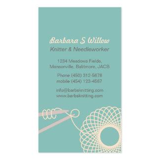 Knitting needlework teal cream business cards