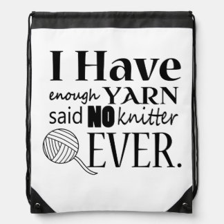 Knitting Not Enough Yarn Crafts Drawstring Bag
