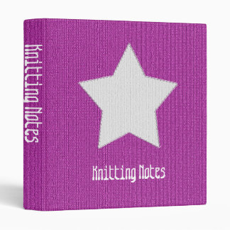 """""""Knitting Notes"""" on Orchid Stockinette Stitch 3 Ring Binder"""