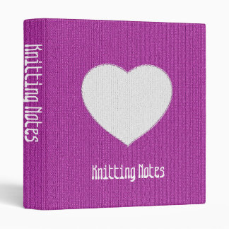 """""""Knitting Notes"""" on Orchid Stockinette Stitch Vinyl Binders"""