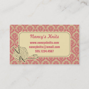 Knitting business cards business card printing zazzle ca knitting pink damask business card colourmoves