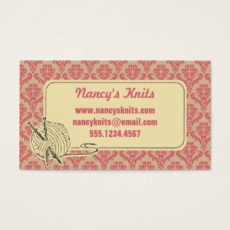 Knitting Pink Damask Business Card