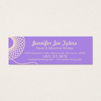 Knitting purple cream skinny business cards