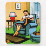 Knitting Sewing Girl 40s Vintage Kitsch Art Mouse Pad