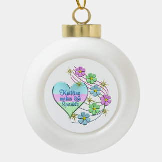Knitting Sparkles Ceramic Ball Christmas Ornament