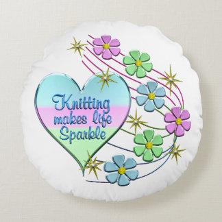 Knitting Sparkles Round Pillow