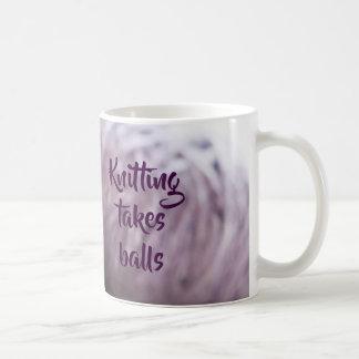 Knitting takes balls coffee mug