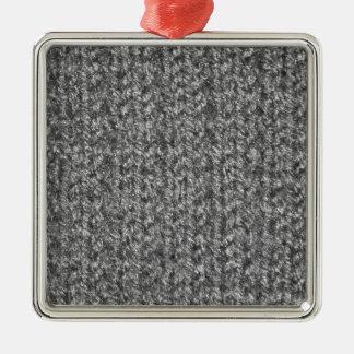 Knitting Texture of Gray/Grey Colored Yarn Christmas Tree Ornaments