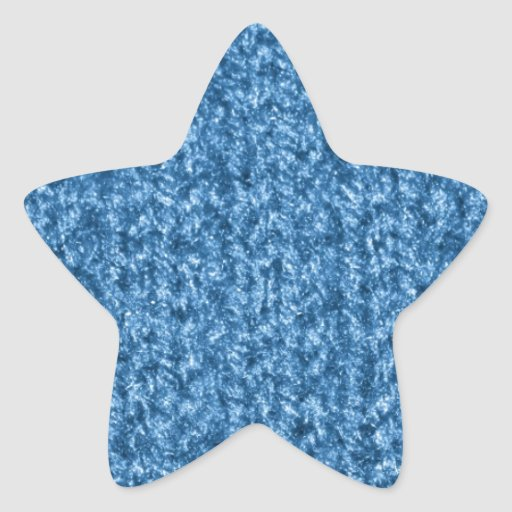 Knitting Texture of Sky Blue Colored Yarn Star Stickers