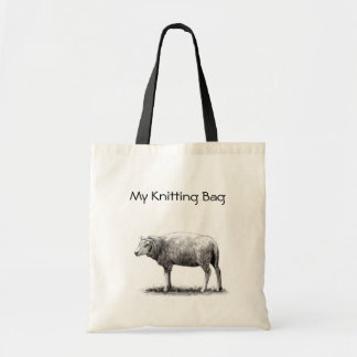 Knitting Tote: Drawing of Sheep in Pencil: Yarn
