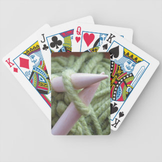 Knitting with Green Yarn Poker Deck