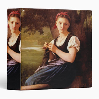 Knitting Woman by William-Adolphe Bouguereau 3 Ring Binders