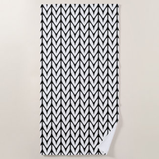 Knitting Yarn Pattern Black and White Decor on a Beach Towel