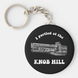 Knob Hill Keychain- White On Black Basic Round Button Keychain