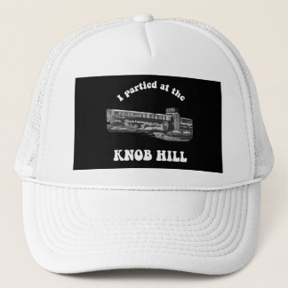 Knob Hill Trucker Cap- White on Black Trucker Hat