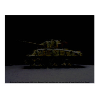 Knocked out Sherman Tank 1944 digi art Postcard
