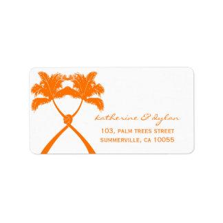 Knot Palm Trees Beach Tropical Wedding Modern Chic Label