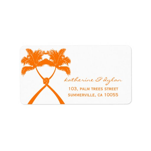 Knot Palm Trees Beach Tropical Wedding Modern Chic Address Label