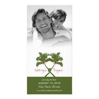 Knot Palm Trees Beach Tropical Wedding Modern Chic Photo Card