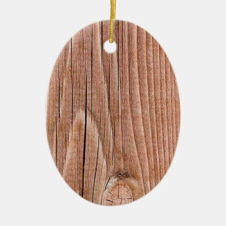 Knotty Slightly  Weathered Wood Grain Ceramic Oval Ornament