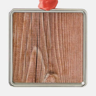 Knotty Slightly  Weathered Wood Grain Silver-Colored Square Ornament