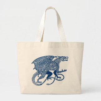 Knotwork Blue Dragon Canvas Bag