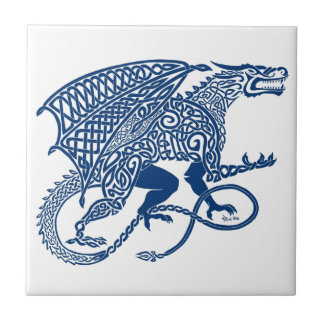 Knotwork Blue Dragon Tile