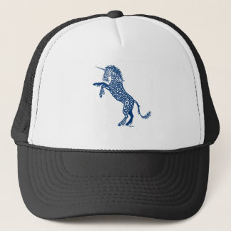 Knotwork Blue Unicorn Trucker Hat