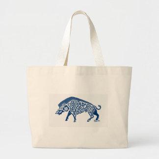 Knotwork Boar, Blue Canvas Bags