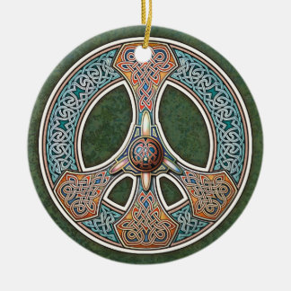 Knotwork Peace Sign Pendant/Ornament Ceramic Ornament