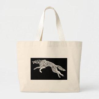 Knotwork Wolf, White on Black Bag