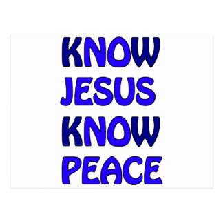 Know Jesus Know Peace No Jesus No Peace Dark Blue Postcard