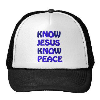 Know Jesus Know Peace No Jesus No Peace Dark Blue Trucker Hat