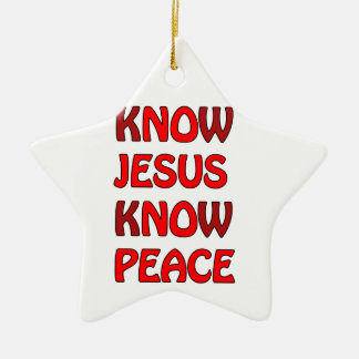 Know Jesus Know Peace No Jesus No Peace In A Red Ceramic Star Ornament