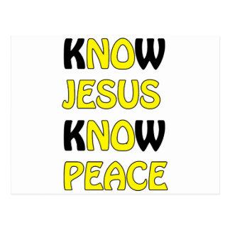 Know Jesus Know Peace No Jesus No Peace In A Yello Postcard
