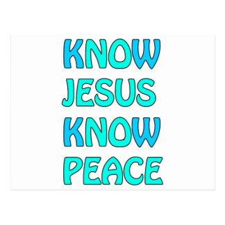 Know Jesus Know  Peace No Jesus No Peace Light Blu Postcard