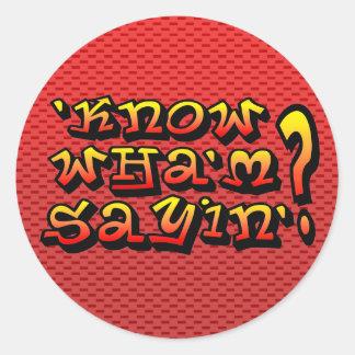 know wha m sayin round sticker
