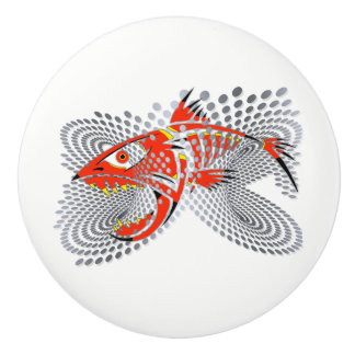 know with modern design angry fish ceramic knob